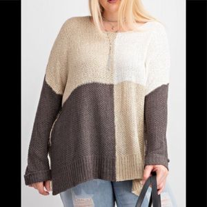 Plus Color Block Sweater